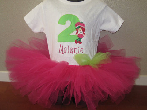 Personalized Strawberry Birthday Tutu Set - Hp & Lime