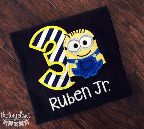 Personalized Minion Birthday Shirt- Navy Stripe Design