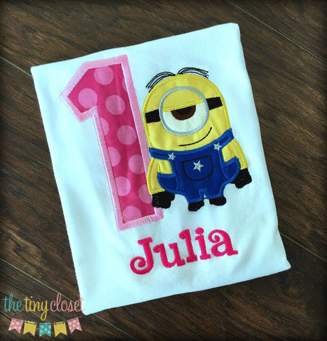 Personalized Minion Birthday Design- Stuart Pink Dot