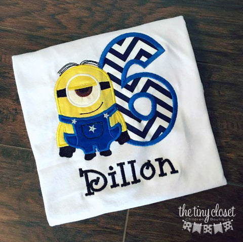 Personalized Minion Birthday Design- Navy Chevron- Stuart