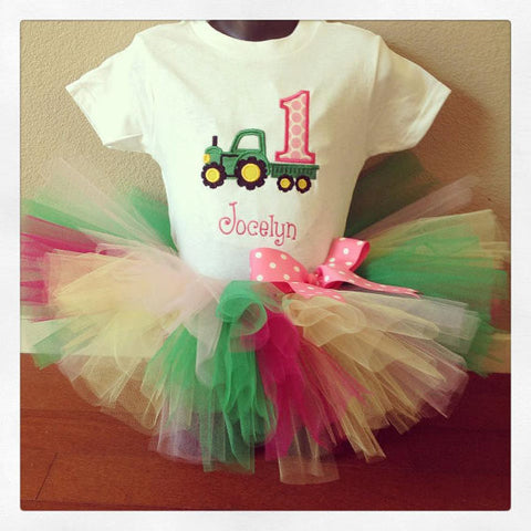 Personalized Tractor Birthday Tutu Set