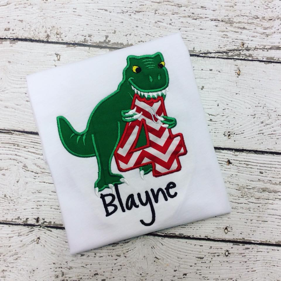 Personalized T. Rex Birthday Design - Red Chevron