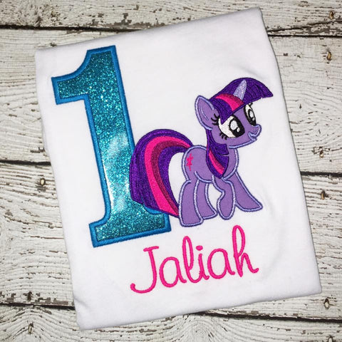 Personalized My Little Pony Birthday Design- Aqua Twilight Pony