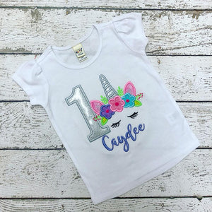 Personalized Silver Glitter Unicorn Face Birthday Design