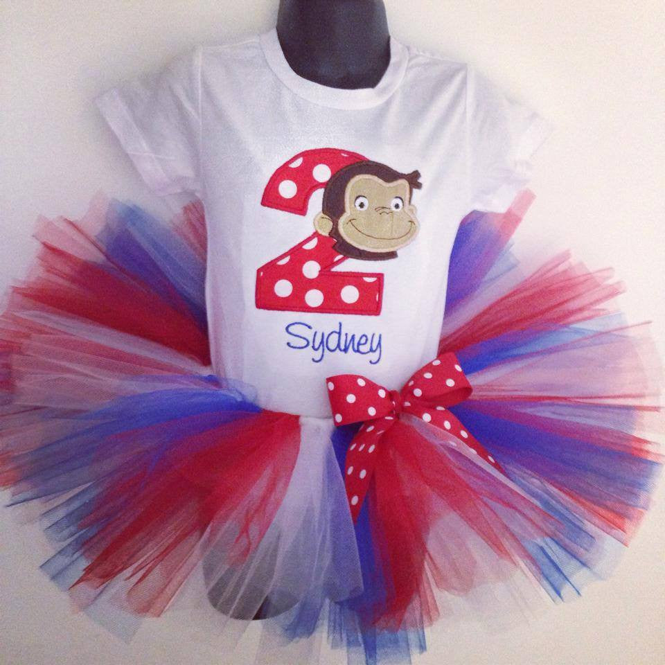 Personalized Curious George Birthday Tutu Set - Red, White & Blue