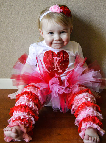 Personalized Valentines Day Monogrammed Heart Tutu Set