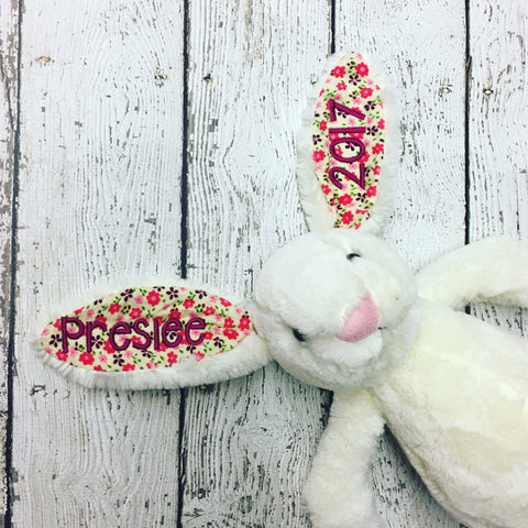 Personalized Easter Bunny-  Cream Floral