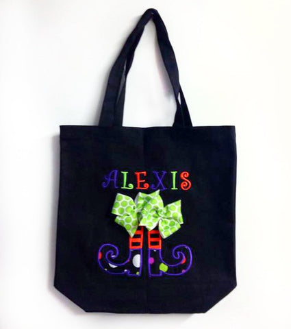 Personalized Witch Boots Trick or Treat Bag