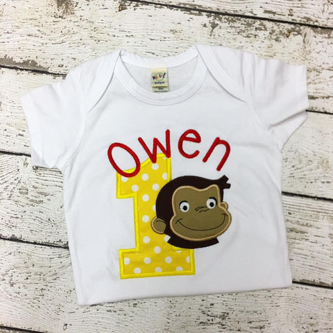 Personalized Curious George Birthday Design- Yellow Dots