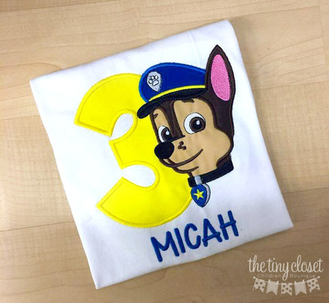 Personalized Paw Patrol Chase Birthday Design- Yellow