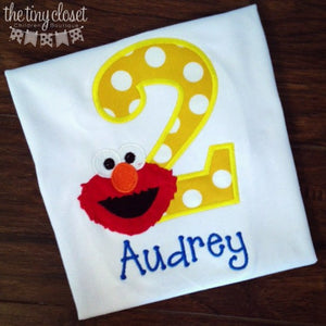 Personalized Elmo Birthday Design - Yellow Dot