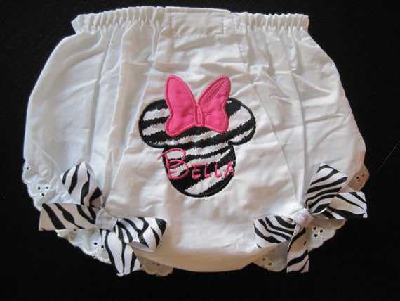 Personalized Minnie Mouse Bloomer - Zebra & HP