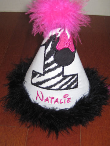 Personalized  Zebra Minnie Birthday Party Hat