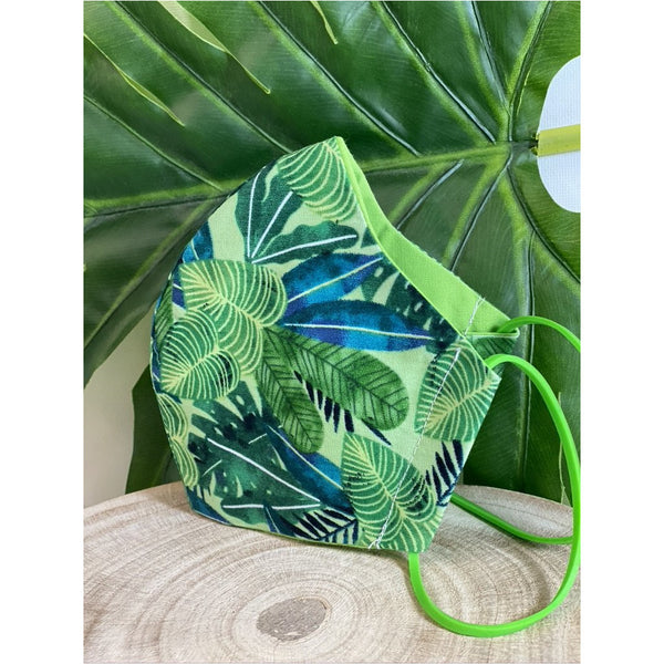 Tropical Leaf Oasis Face Mask reusable cotton washable, Triple Layer