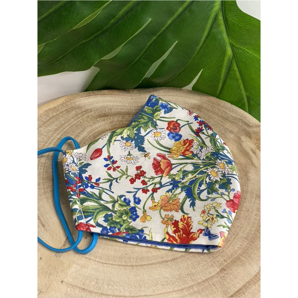 Spring Floral Face Mask  reusable cotton washable, Triple Layer