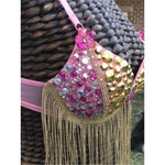Pink and Gold Festival and Rave Bra
