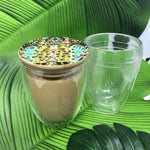 Bodum Glass travel coffee or tea cup and lid