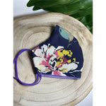 Navy floral Face Mask  reusable cotton washable