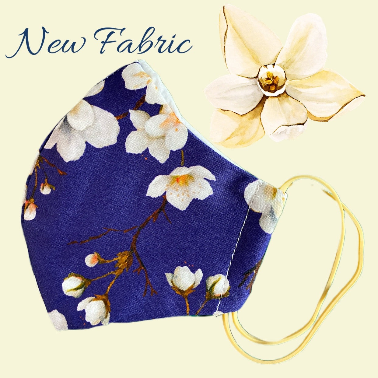 Navy Blossom Face Mask  reusable cotton washable