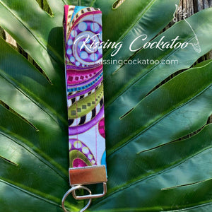 Bright Paisley Key Fob/Ring