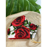 Red red rose Face Mask  reusable cotton washable, Triple Layer