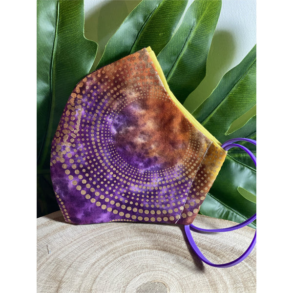 Purple and with gold spot Face Mask  reusable cotton washable