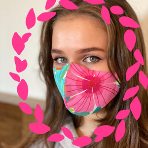 Large hibiscus white Face Mask  reusable cotton washable