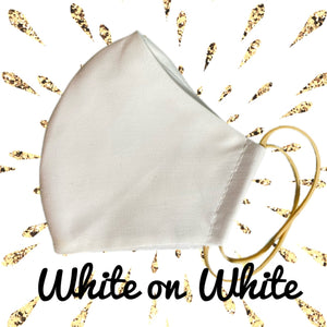 White on white Face Mask  reusable cotton washable Triple layer