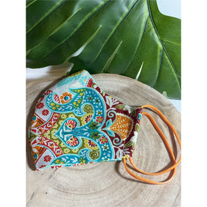 Pretty Paisley Face Mask  reusable cotton washable, triple layer