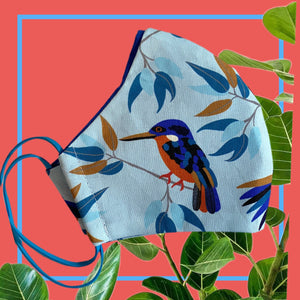 Native bird Face Mask  reusable cotton washable, Triple Layer