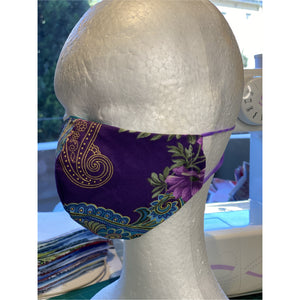 Purple paisley Face Mask  reusable cotton washable