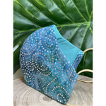 Teal Hand beaded formal Face Mask  reusable cotton washable, Triple Layer