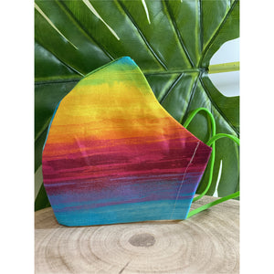 Bright Rainbow Face Mask  reusable cotton washable Triple Layer