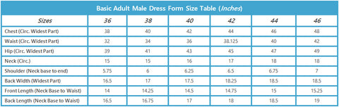 Basic Adult Male Professional Dress Form Size Table