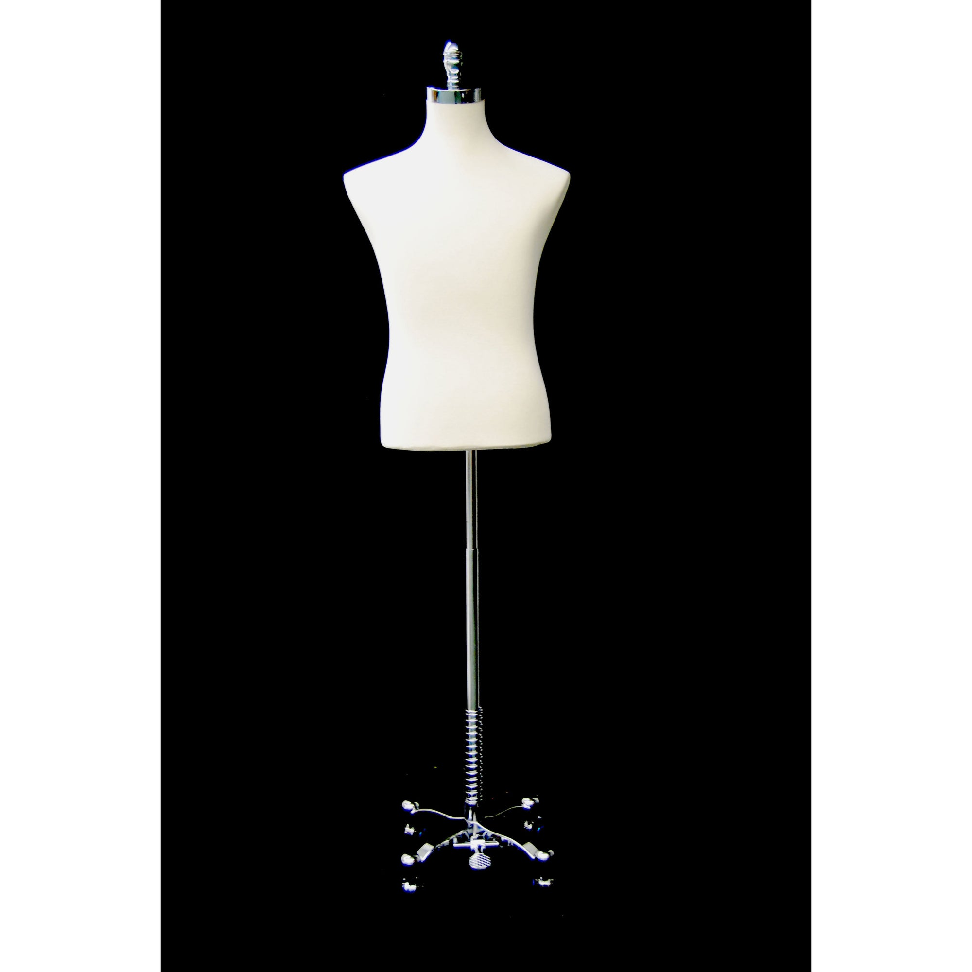 Male Display Dress Form on Chrome Rolling Base, male display form, off white male display form on chrome rolling base, off white male shirt form on chrome rolling base