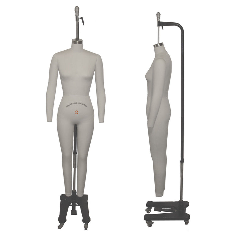 Female Full Body Professional Dress Form With Arms and Collapsible Shoulders
