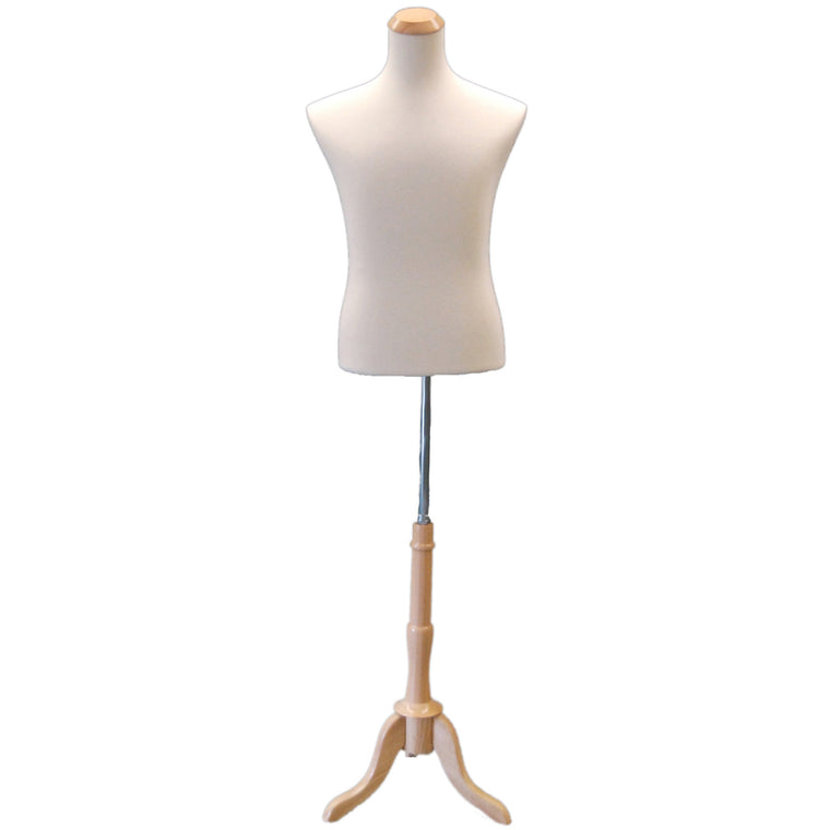 Male Display Dress Form on Natural Wood Tripod Base