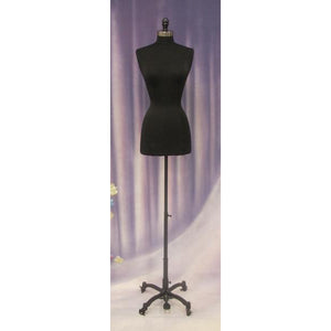 Female Display Dress Form on Black Rolling Base, sewing mannequin, seamstress mannequin, black bust form with black rolling base