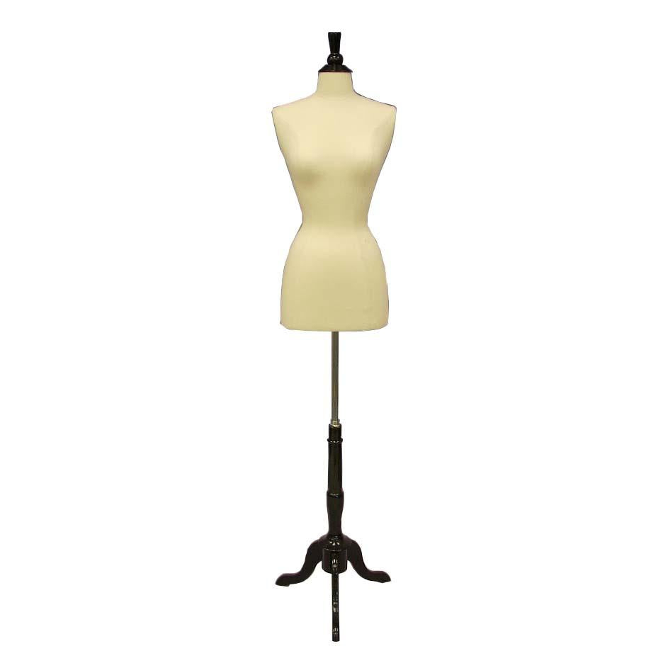 Female Display Dress Form on Black Wood Tripod Base, Size 2-4 display form, sewing mannequin, seamstress mannequin, Off white bust form