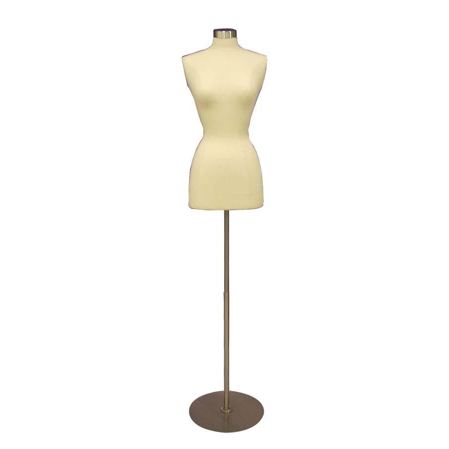 Female Display Dress Form on Round Metal Base, Size 2-4 display form, sewing mannequin, seamstress mannequin, Off white bust form