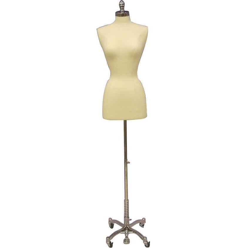 Female Display Dress Form on Chrome Rolling Base, Size 2-4 display form, sewing mannequin, seamstress mannequin, Off white bust form