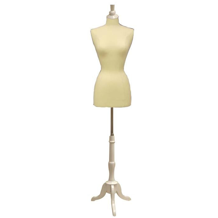 Female Display Dress Form on White Wood Tripod Base, Size 2-4 display form, sewing mannequin, seamstress mannequin, Off white bust form