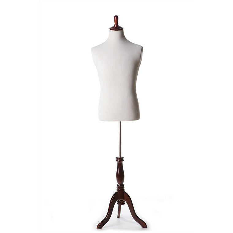 White Male Display Dress Form on Burgundy Wood Tripod Base