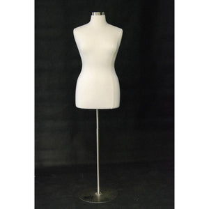 Female Display Dress Form on Round Metal Base, Size 14-16 display form, sewing mannequin, seamstress mannequin, Off white bust form