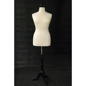 Female Display Dress Form on Black Wood Tripod Base, Size 14-16 display form, sewing mannequin, seamstress mannequin, Off white bust form