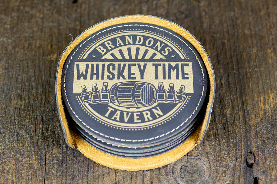 Custom Bar Coasters - Whiskey Design