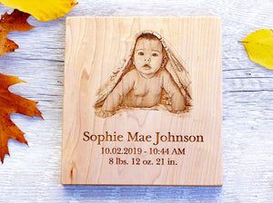 Engraved Wood Baby Plaque