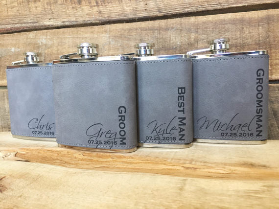 Gray Leather Flasks