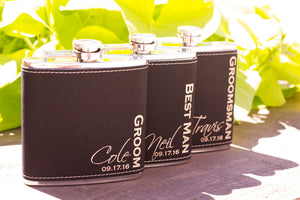 Black Leather Flasks