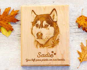 Engraved Wood Pet Memorial Plaque